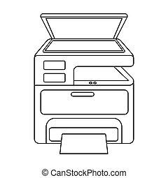 estilo, impresora, contorno, símbolo, aislado,...