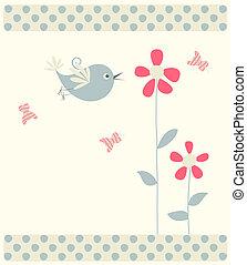 abstract bird,butterflies and flowers