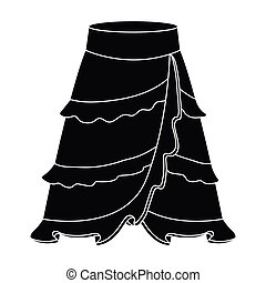 Flamenco skirt icon in black style isolated on white...