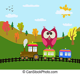 dessin animé, train, hibou