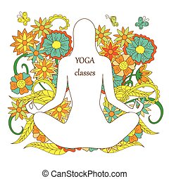 white silhouette girl in yoga lotus pose on floral background