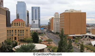 View looking down on Phoenix, Arizona downtown - A View...