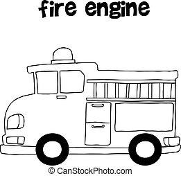 Fire engine vector art illustration hand draw