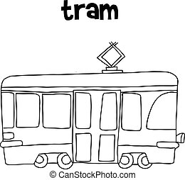 Tram vector art hand draw