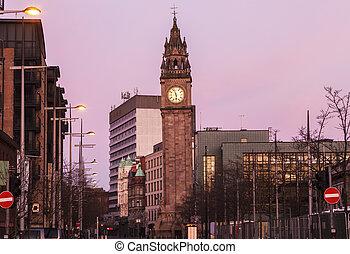 Albert Memorial Clock in Belfast. Belfast, Northern Ireland,...