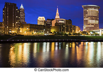Cleveland skyline at night. Cleveland, Ohio, USA.