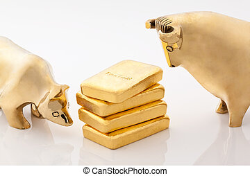 Bull and bear markets symbols with gold bars