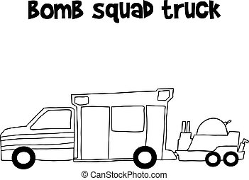 Bomb squad truck vector illustration collection stock
