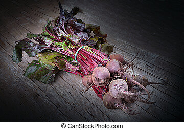 Red Turnips - Fresh red turnips, photographed on wood...