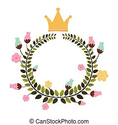 colorful arch of leaves with flowers and crown