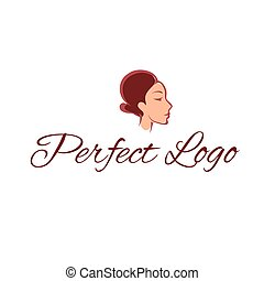 Logo with a woman s profile. Vector illustration