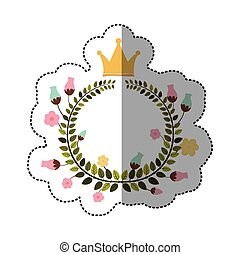 sticker colorful arch of leaves with flowers and crown