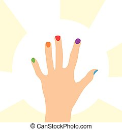 Hand with colorful nails