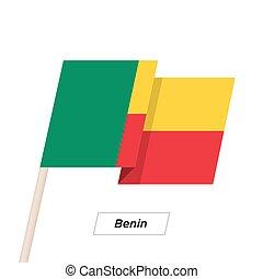 Benin Ribbon Waving Flag Isolated on White. Vector...