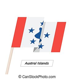 Austral Islands Ribbon Waving Flag Isolated on White. Vector...