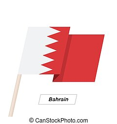 Bahrain Ribbon Waving Flag Isolated on White. Vector...