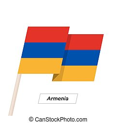 Armenia Ribbon Waving Flag Isolated on White. Vector...