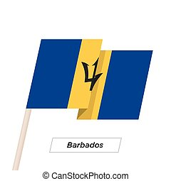 Barbados Ribbon Waving Flag Isolated on White. Vector...