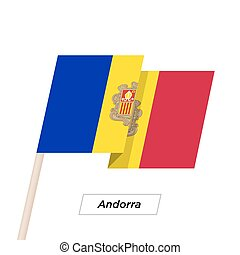 Andorra Ribbon Waving Flag Isolated on White. Vector...