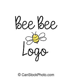 Handdrawn Bee icon with text. Vector illustration. -...