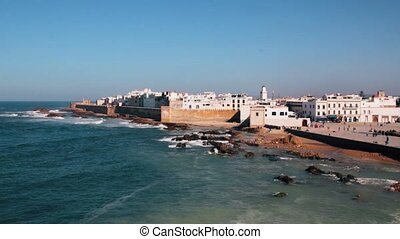 View to Essaouira old city and ocean , Morocco - View to...