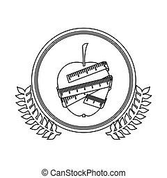 monochrome silhouette circle with decorative olive branch and apple with tape measure around