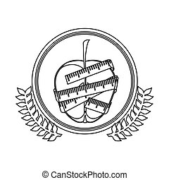 monochrome silhouette circle with decorative olive branch and middle apple with tape measure around