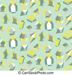 Colorful gems as seamless pattern. Blue and aqua crystals