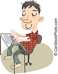 man surfing internet in good mood. - cartoon man surfing...