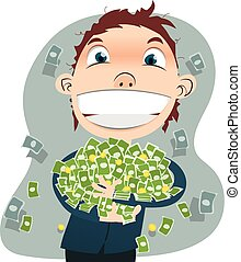 businessman holding a lot of money.