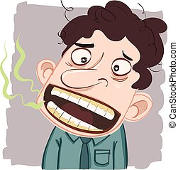 man with bad breath - cartoon man with bad breath.