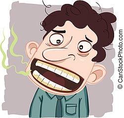 man with bad breath - cartoon man with bad breath.