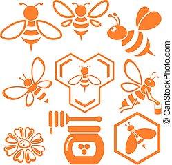 Bee and Honey vector set