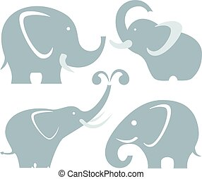 Elephants - Vector Elephants set