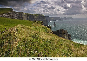 landscape and seascape on a cloudy day west ireland - photo...