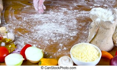 prepearing dough for homemade pizza - prepearing dough for...