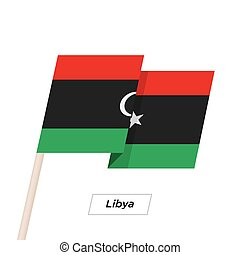 Libya Ribbon Waving Flag Isolated on White. Vector...
