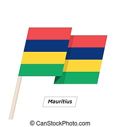 Mauritius Ribbon Waving Flag Isolated on White. Vector...