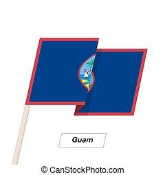 Ilustración,  Guam, aislado, ondulación, bandera,  vector, blanco, cinta