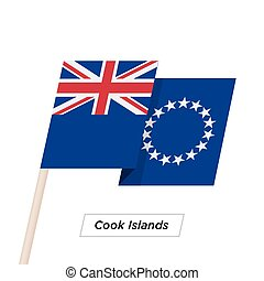 Cook Islands Ribbon Waving Flag Isolated on White. Vector...