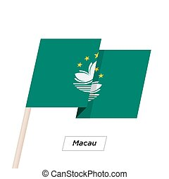 Macau Ribbon Waving Flag Isolated on White. Vector...