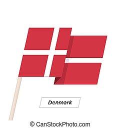 Denmark Ribbon Waving Flag Isolated on White. Vector Illustration.