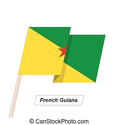 French Guiana Ribbon Waving Flag Isolated on White. Vector...