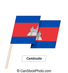 Cambodia Ribbon Waving Flag Isolated on White. Vector...
