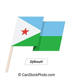 Djibouti Ribbon Waving Flag Isolated on White. Vector...