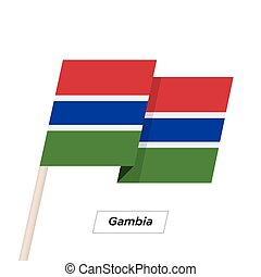Gambia Ribbon Waving Flag Isolated on White. Vector...