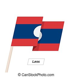 Laos Ribbon Waving Flag Isolated on White. Vector...