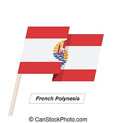 French Polynesia Ribbon Waving Flag Isolated on White....