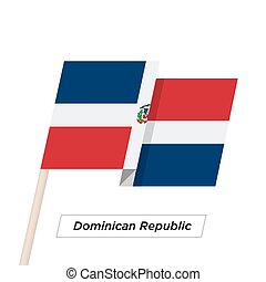 Dominican Republic Ribbon Waving Flag Isolated on White. Vector Illustration.