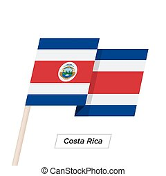 Costa Rica Ribbon Waving Flag Isolated on White. Vector...